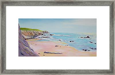 Framed Print featuring the painting Spring Hills And Seashore At Bowling Ball Beach by Asha Carolyn Young