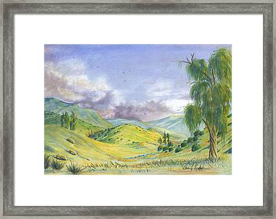 Framed Print featuring the painting Spring In The Corona Hills by Dan Redmon