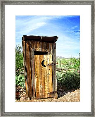 Spring In The Desert And The Out House Framed Print by Lee Craig