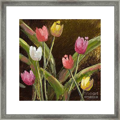 Spring Is Around The Corner With Gold Leaf By Vic Mastis Framed Print by Vic  Mastis