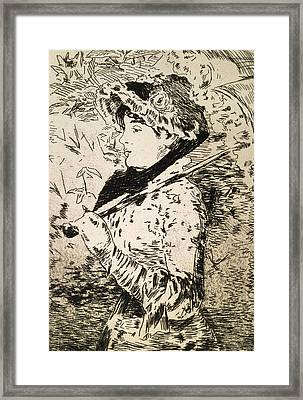 Spring   Jeanne Framed Print by Edouard Manet