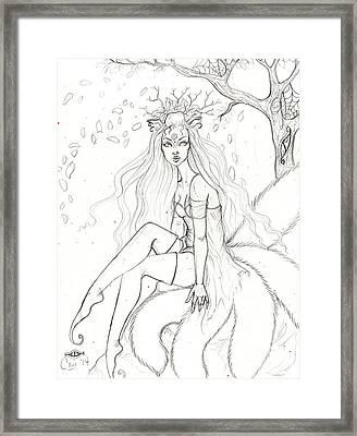 Spring Kitsune Framed Print by Coriander Shea