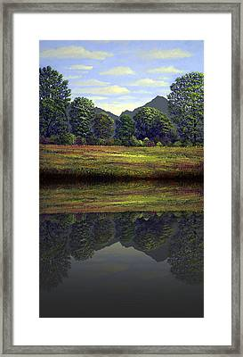 Spring Meadow At Sutter Buttes Reflection Framed Print