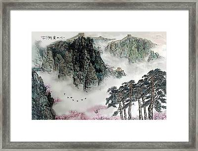 Framed Print featuring the photograph Spring Mountains And The Great Wall by Yufeng Wang