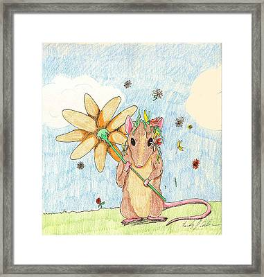 Spring Mouse Framed Print by Wendy Coulson