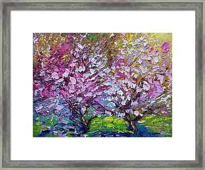 Spring Painting Of Pink Flowers On Magnolia Tree Fine Art By Ekaterina Chernova Framed Print