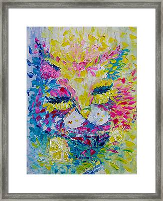 Spring Pink Cat Framed Print