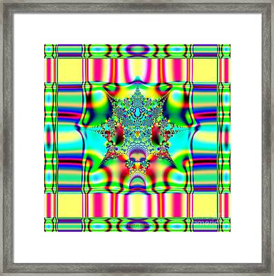 Spring Plaid Fabric Fractal Framed Print by Rose Santuci-Sofranko