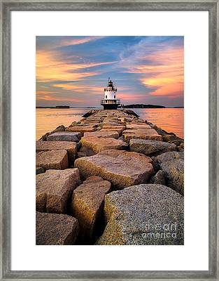 Spring Point Ledge Light Framed Print by Benjamin Williamson