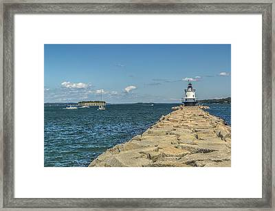 Framed Print featuring the photograph Spring Point Ledge Lighthouse by Jane Luxton