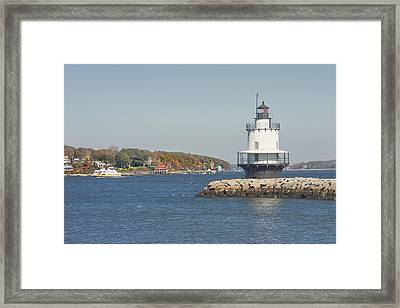 Spring Point Ledge Lighthouse On The Maine Coast Framed Print
