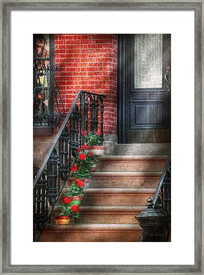 Spring - Porch - Hoboken Nj - Geraniums On Stairs Framed Print