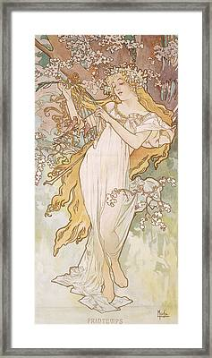 Spring Printemps Framed Print by Alphonse Marie Mucha