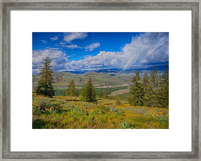 Spring Rain Across A Valley Framed Print by Omaste Witkowski
