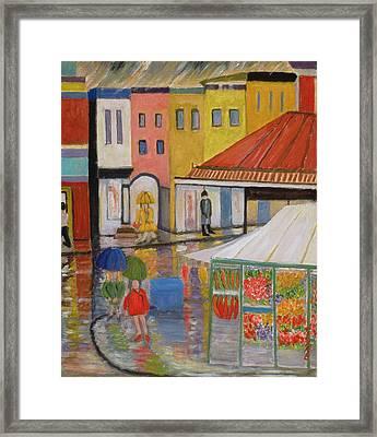 Spring Rain Bywood Market  Framed Print