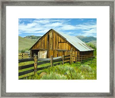 Spring Range Barn Framed Print