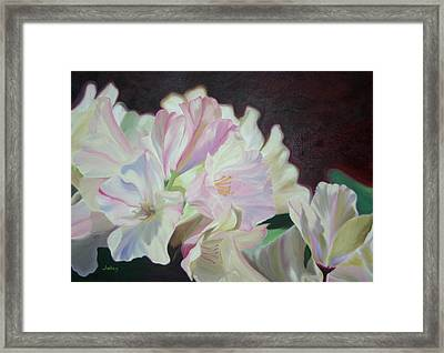 Framed Print featuring the painting Spring Rhodys by Nancy Jolley