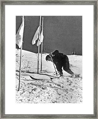 Spring Skiing At Sun Valley Framed Print by Underwood Archives