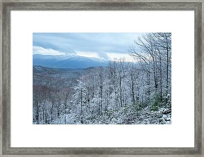 Spring Snow In The Great Smoky Mountains Framed Print by Debbie Dicarlo