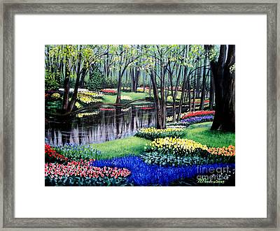 Framed Print featuring the painting Spring Spendor Tulip Garden by Patricia L Davidson