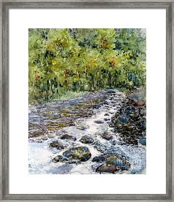 Spring Stream Framed Print by Louise Peardon