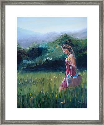 Framed Print featuring the painting Spring Stroll by Donna Tuten