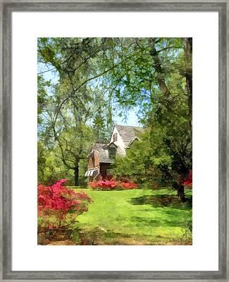 Spring - Suburban House With Azaleas Framed Print by Susan Savad