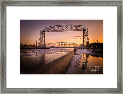 Spring Sunset In Canal Park Framed Print