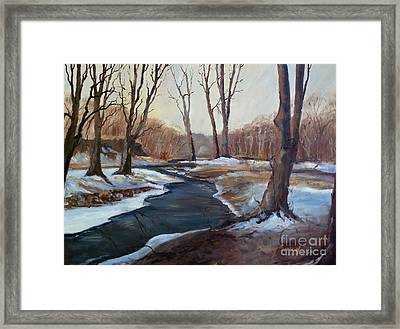 Framed Print featuring the painting Spring Thaw by Sally Simon