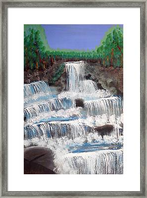 Framed Print featuring the painting Spring Waterfall by Carol Duarte