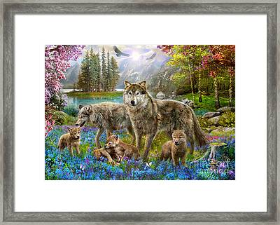 Spring Wolf Family Framed Print by Jan Patrik Krasny