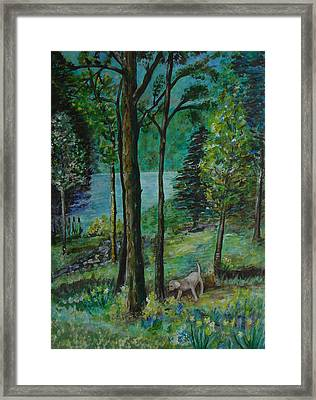 Spring Woodland With Dog - Painting Framed Print by Veronica Rickard