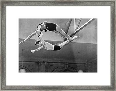 Springboard Diving Champions Framed Print by Underwood Archives
