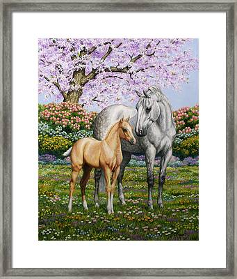 Spring's Gift - Mare And Foal Framed Print by Crista Forest