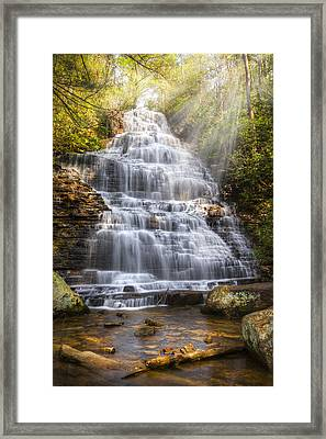 Springtime At Benton Falls Framed Print by Debra and Dave Vanderlaan