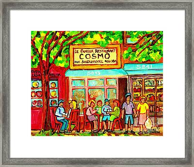Springtime Brunch Famous Cosmos Snack Bar Rue Sherbrooke Bistro Cafe Paintings Montreal Streets  Framed Print by Carole Spandau