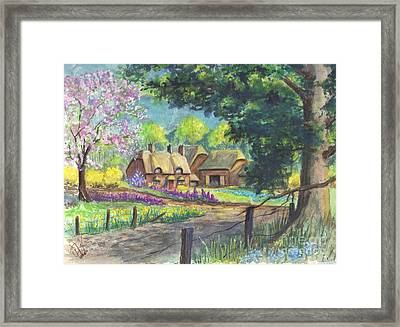 Springtime Cottage Framed Print