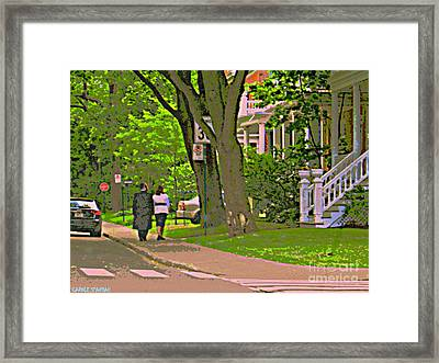 Springtime Stroll Through Beautiful Tree Lined Outremont Montreal Street Scene Art By Carole Spandau Framed Print by Carole Spandau