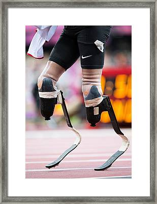Sprinter At Start Of Paralympics 100m Framed Print by Science Photo Library