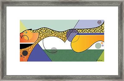 Sprinting Jaguar Framed Print