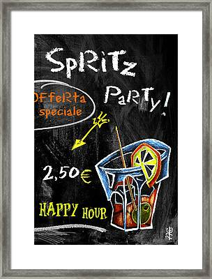 Spritz Party Happy Hour - Aperitif Venice Italy Framed Print by Arte Venezia