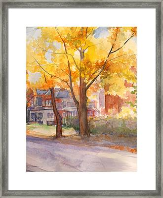 Spruce Street Maples Framed Print by Nancy Watson