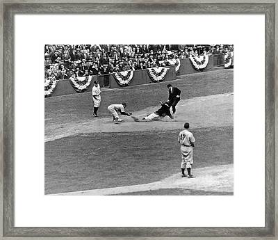 Spud Chandler Is Out At Third In The Second Game Of The 1941 Wor Framed Print