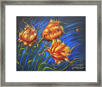 Framed Print featuring the painting Spulips by S G