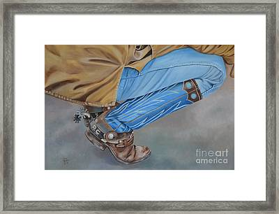 Spur Squatting Framed Print