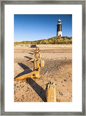 Spurn Point Lighthouse And Sea Defences Framed Print by Colin and Linda McKie