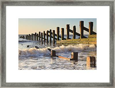 Spurn Point Sea Defence Posts Framed Print by Colin and Linda McKie