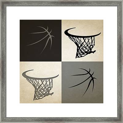 Spurs Ball And Hoop Framed Print