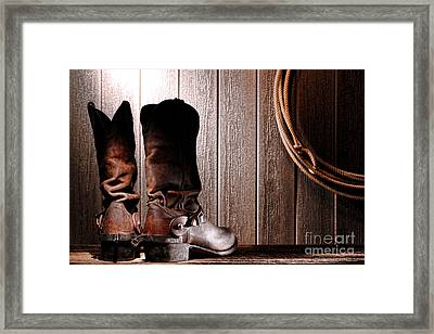 Spurs On Cowboy Boots Heels Framed Print by Olivier Le Queinec