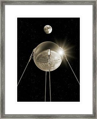 Sputnik 1 In Orbit Framed Print
